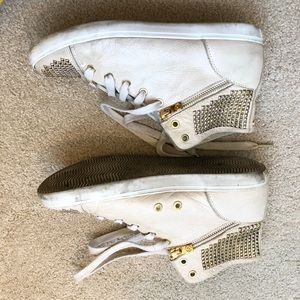 Michael Kors Shoes - MK Leather Sneakers w Gold Metal Studs